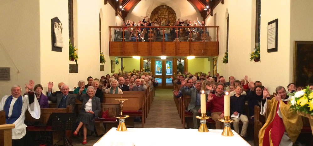 Picture of the congregation at St Mark's waving